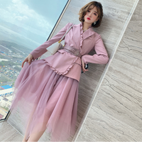 Asymmetry jacket & tulle skirt set(No.301670)【bluegray , pink】