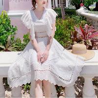 Fairy white cutting lace dress(No.301240)