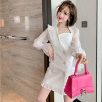 Asymmetry design double button dress(No.030944)【white】