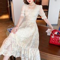 Cream flower lace  long dress(No.301221)