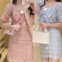Camellia ribbon flower lace dress(No.301165)【2color】