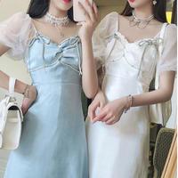 Ribbon brooch pearl line dress(No.301297)【2color】