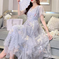 Fairy lace millefeuille long dress(No.300725)