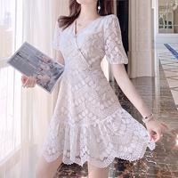 Cutting white lace dress(No.301114)