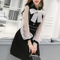 Chiffon big ribbon black dress(No.300887)【2color】