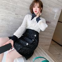 Two tone chain brooch dress(No.301892)【black , white】