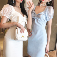 Satin puff sleeve simple dress(No.301413)【2color】