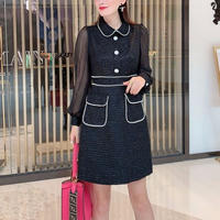 Pearl line black tweed dress(No.300811)