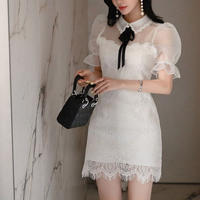 Puff sleeve lacy dress(No.300663)