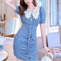 Flower lace collar denim dress(No.301201)