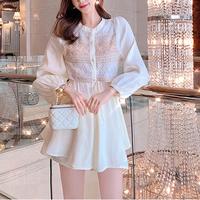 Pink beige satin blouse setup(No.301531)