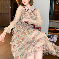 Embroidery flower lace long dress(No.302021)