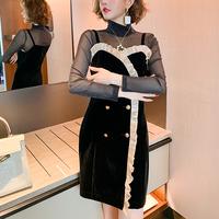 Sheer tops & double button dress(No.301658)