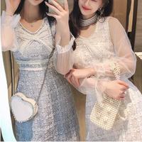 Bijou ribbon flower lace dress(No.301099)【3color】