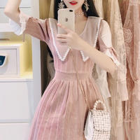 Lady point waist dress(No.300717)【pink , black ,green】