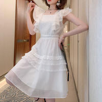 Fairy millefeuille lace white dress(No.301421)