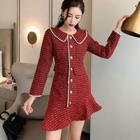 Merry tweed asymmetry frill dress(No.301683)