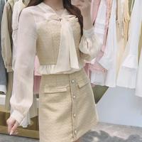 Chiffon sleeve tweed setup(No.301568)【white , black , yellow】