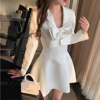 Idol look short jacket & ribbon dress(No.302107)【white】