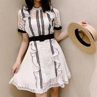 Mono pattern frill dress(No.300660)