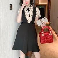Dot blouse v-cut suit dress(No.301378)