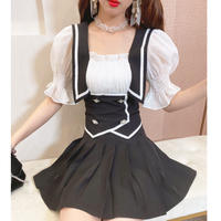 Tulle puff sleeve sailor setup(No.302171)【3color】
