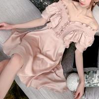 Vintage pink shoulder line dress(No.300756)