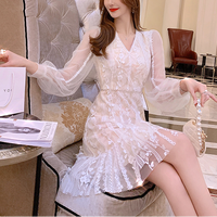 Classical flower cream lacy dress(No.301554)