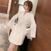 Bijou buckle white lacy cape coat(No.301681)