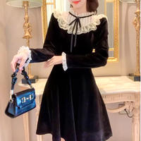 Lady stand lace collar velour dress(No.301942)