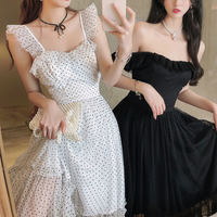 Shoulder tulle dot long dress(No.301417)【pink , white , black】