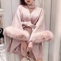 Vintage pink fur cape dress coat(No.300959)