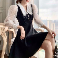 Tulle puff sleeve black dress(No.301733)
