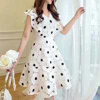Cutting flower flare dress(No.300678)