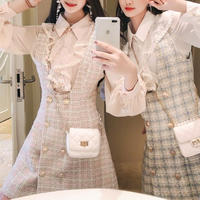 Lady check tweed suits dress & blouse set(No.300807)【blue , pink】