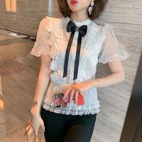 Ribbon brooch puff sleeve blouse(No.301493)