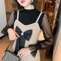 Melton tweed dress & tulle blouse(No.301784)