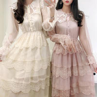 Lady ruffle tulle long dress(No.301086)【3color】