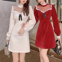 Décolleté dot lacy velvet dress(No.301859)【2color】