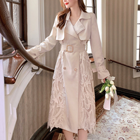 Lady heart lace long trench(No.301601)