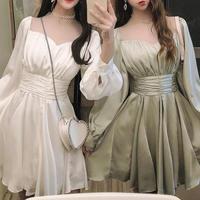 Cache-coeur waist point dress(No.301033)【4color】