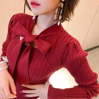 My heart ribbon knit long dress(No.301883)【red】
