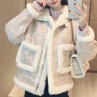Fake mouton tweed jacket(No.300908)【2color】