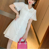 Volume puff sleeve cutting lace dress(No.301266)