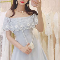 Flower bijjou off-shoulder dress(No.300666)