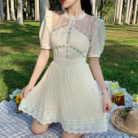 Cream color puff sleeve dress(No.301262)
