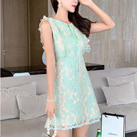 Mint petite flower lace dress(No.301250)