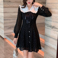 Waist line dot black dress(No.300860)