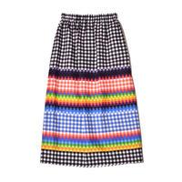 WATARU TOMINAGA / Elastic Waist Long Skirt / Rainbow Gingham Print