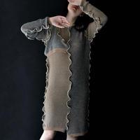 to do kotohayokozawa / Docking Knit Dress / Brown